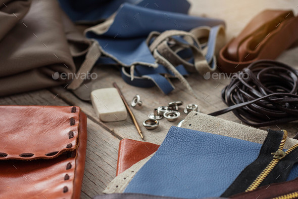 equipment of leather on wooden - Stock Photo - Images
