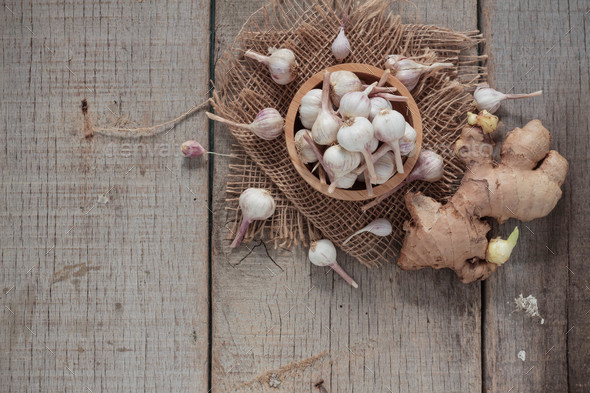 Garlic and ginger on wood - Stock Photo - Images
