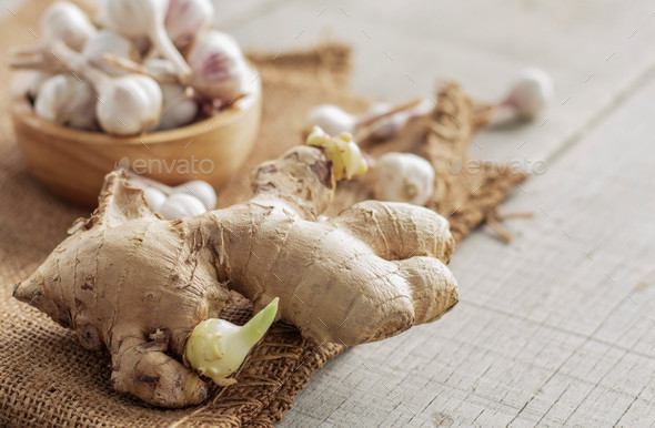ginger and garlic on wooden - Stock Photo - Images