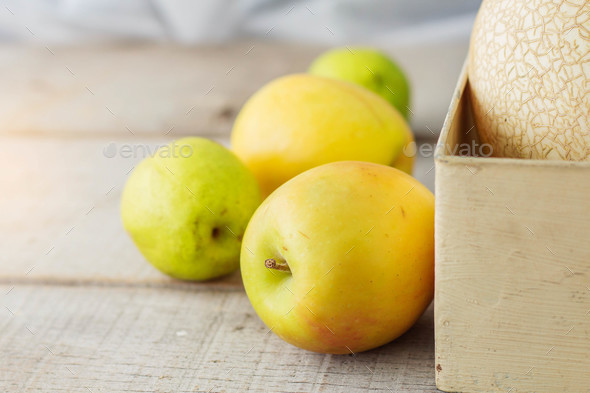 Green apples on wooden - Stock Photo - Images