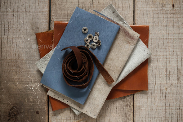 leather on the old wooden - Stock Photo - Images
