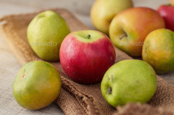Red apples on sack - Stock Photo - Images