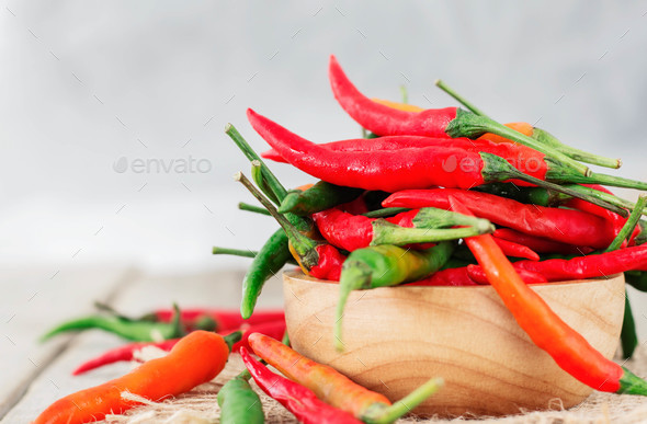 Red chili on wooden - Stock Photo - Images