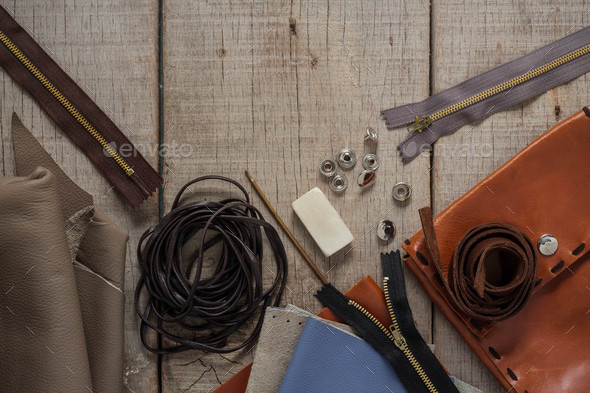 Tools of leather on floors - Stock Photo - Images