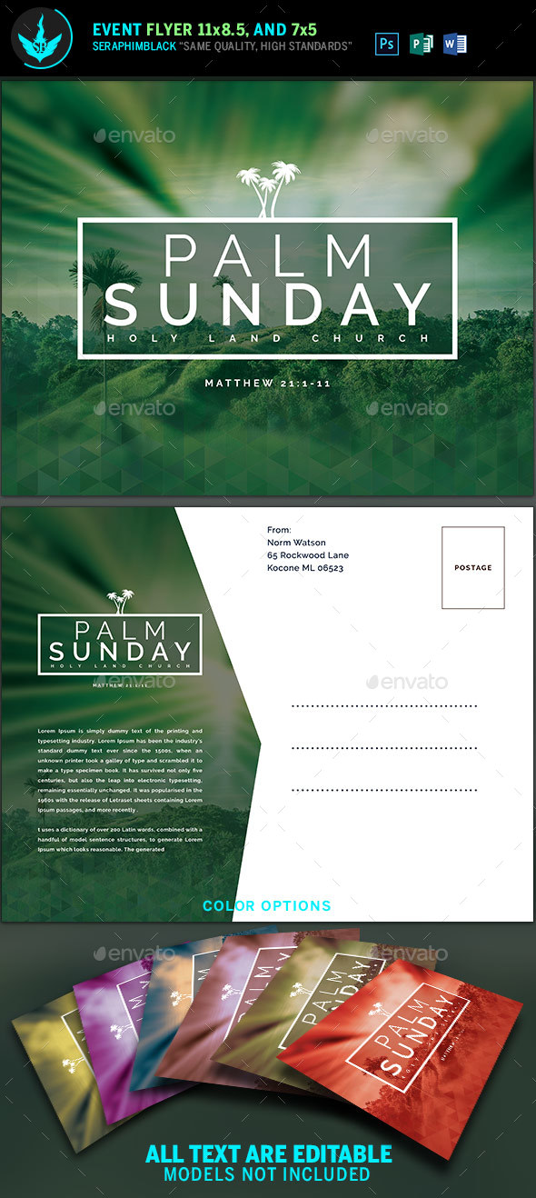 Palm Sunday Church Flyer template - Church Flyers