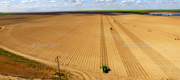 Tractors Run Parallel Plowing For New Planting Farm Agriculture - Stock Photo - Images