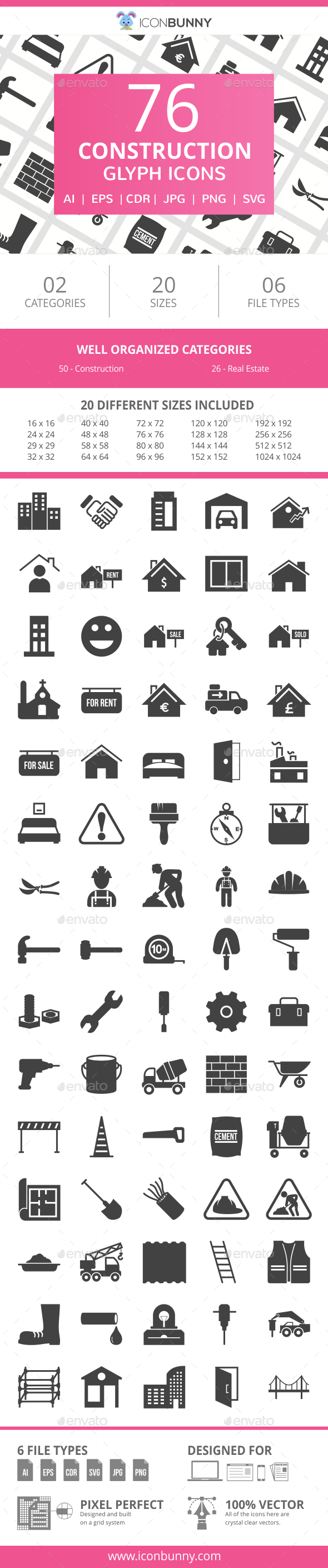 76 Construction Glyph Icons - Icons