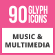 90 Music & Multimedia Glyph Icons - GraphicRiver Item for Sale