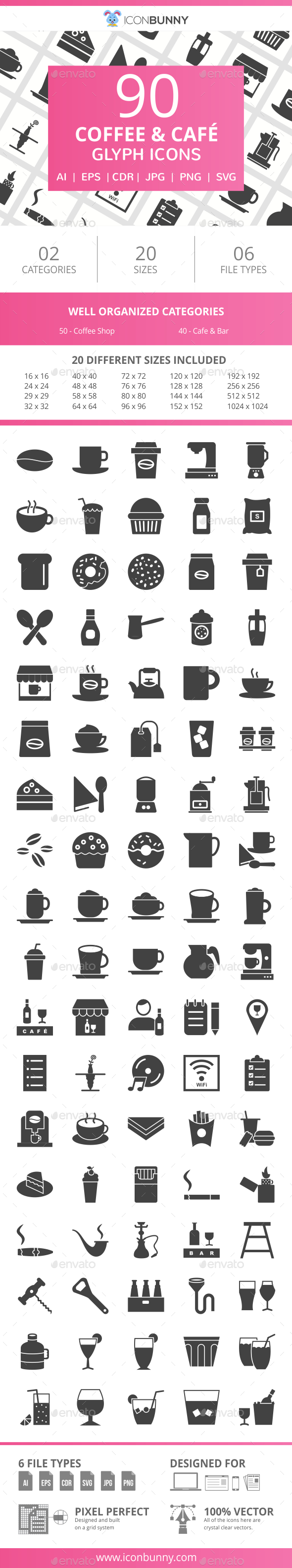 90 Coffee & Cafe Glyph Icons - Icons