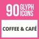 90 Coffee & Cafe Glyph Icons - GraphicRiver Item for Sale