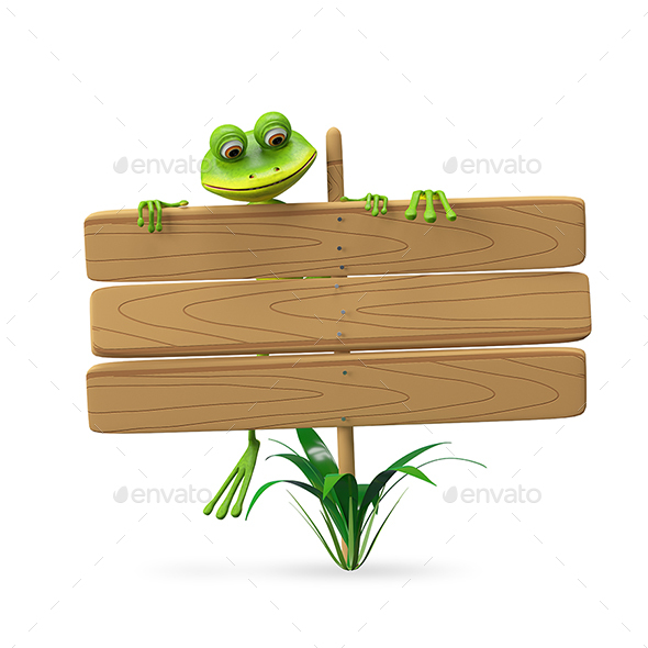 3D Illustration Frog with Wooden Plaque - Characters 3D Renders