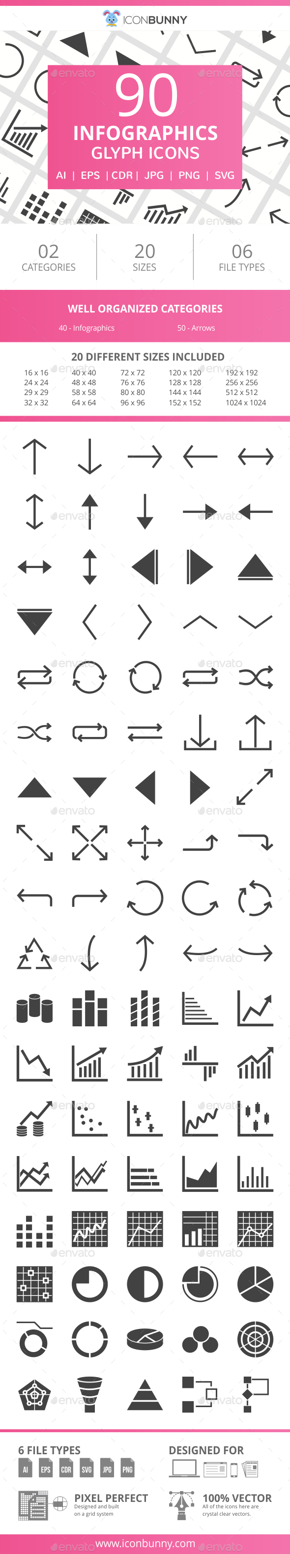 90 Infographics Glyph Icons - Icons