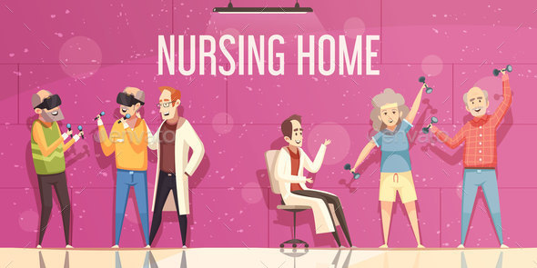 Nursing Home Illustration - Health/Medicine Conceptual