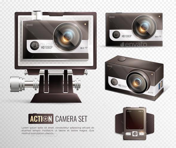 Action Camera Transaparent Set - Sports/Activity Conceptual