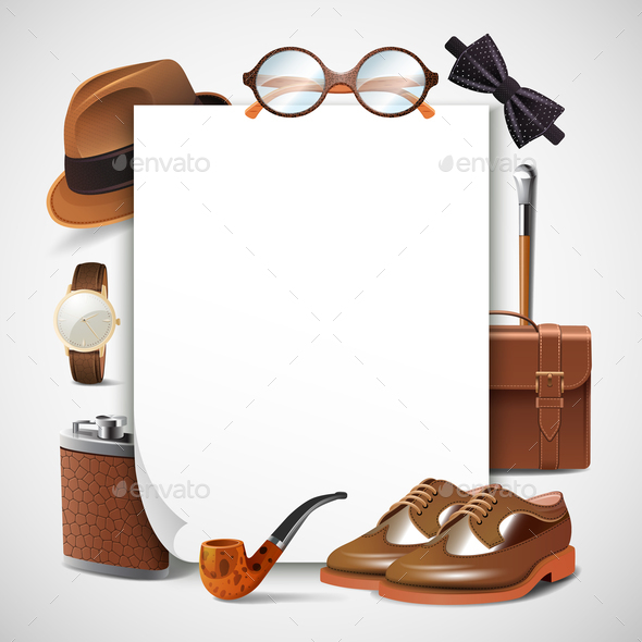 Gentleman Accessories Realistic Frame - Business Conceptual