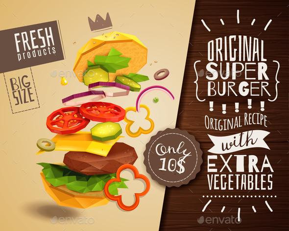 3D Hamburger Horizontal Poster - Food Objects