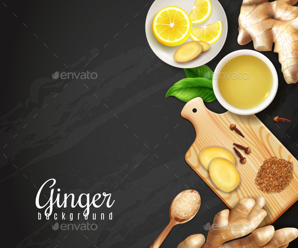 Ginger Black Background - Food Objects