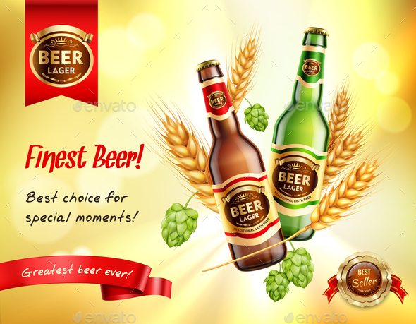 Beer Realistic AD Composition - Backgrounds Decorative