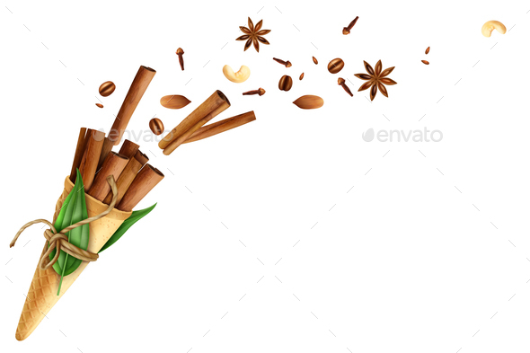 Cinnamon Flying Spices Nuts Illustration - Food Objects