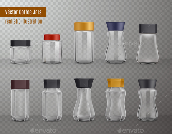 Coffee Jars Realistic Transparent - Food Objects
