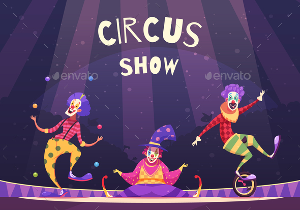 Circus Show Clowns Illustration - People Characters
