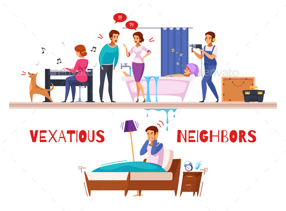 Neighbors Relations Cartoon Composition - People Characters