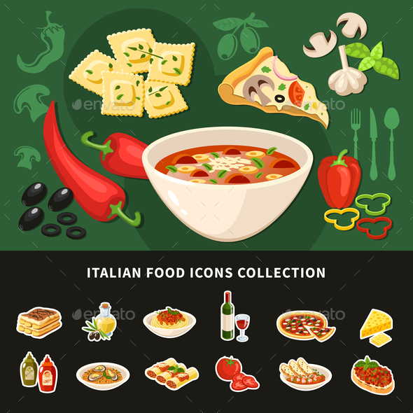 Italian Restaurant Near Me: Italian Food Icons Collection By Macrovector