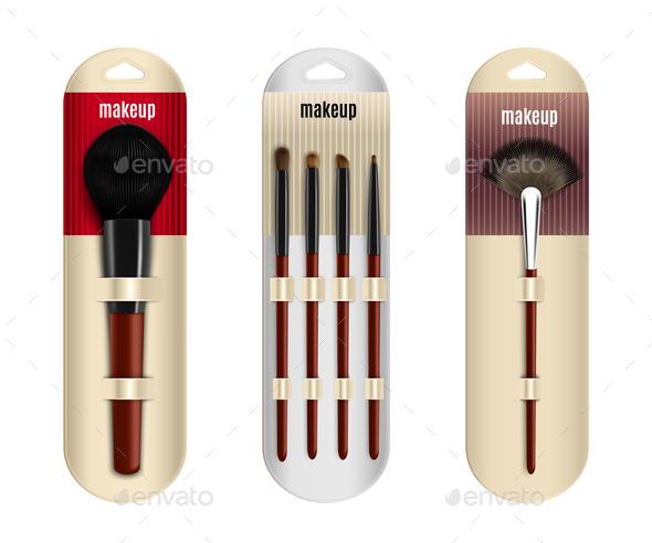 Realistic Makeup Brushes Set - Miscellaneous Vectors