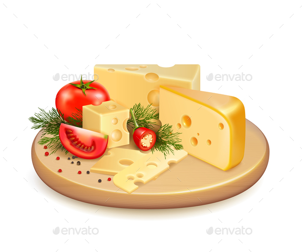 Cheese Vegetables Composition - Food Objects