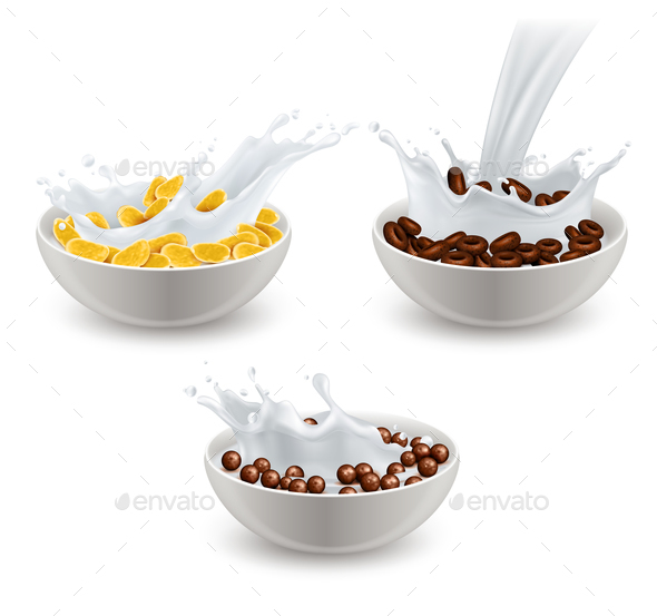 Realistic Breakfast Cereals Milk Set - Food Objects