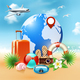 Colored Summer Holidays Realistic Composition - GraphicRiver Item for Sale