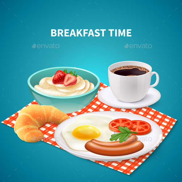 Breakfast Realistic Background - Food Objects