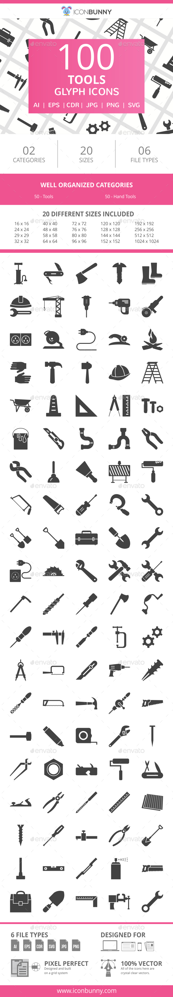 100 Tools Glyph Icons - Icons