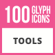 100 Tools Glyph Icons - GraphicRiver Item for Sale