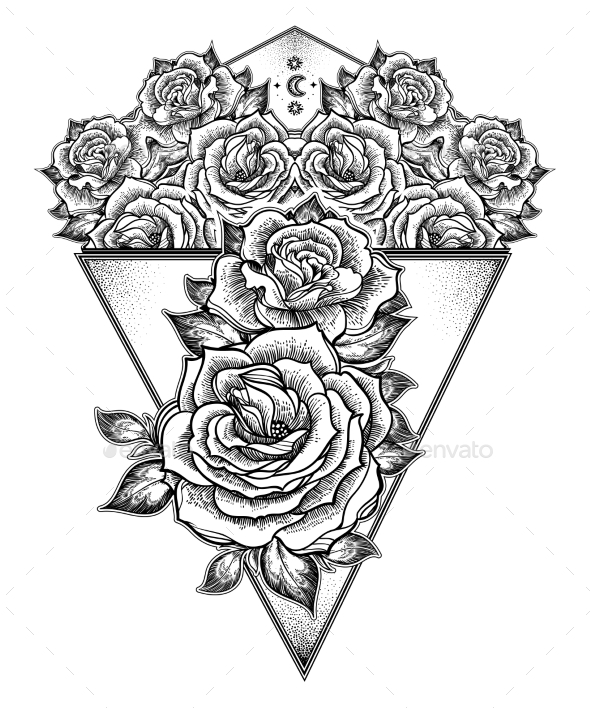 Peony or Rose Flower with Sacred Geometry Frame - Flowers & Plants Nature