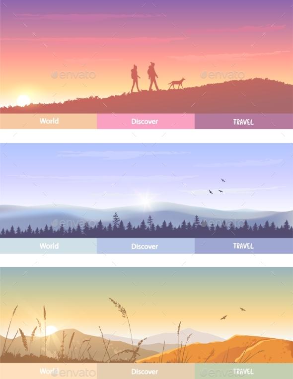 Set of Nature Landscapes - Landscapes Nature