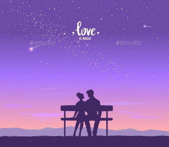 Lovers on the Bench - People Characters