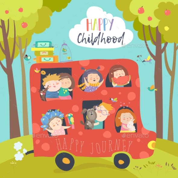 Children Traveling By Bus - People Characters