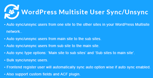 WordPress Multisite User Sync/Unsync - CodeCanyon Item for Sale