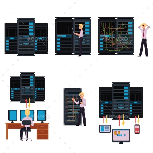 Set of Server Room Images with Data Center - Computers Technology