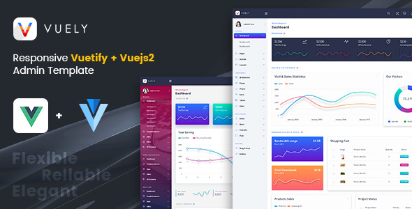 Image of Vuely : Vuejs 2 Material Design Admin Template
