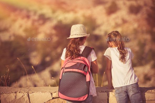 Kids enjoying hike - Stock Photo - Images