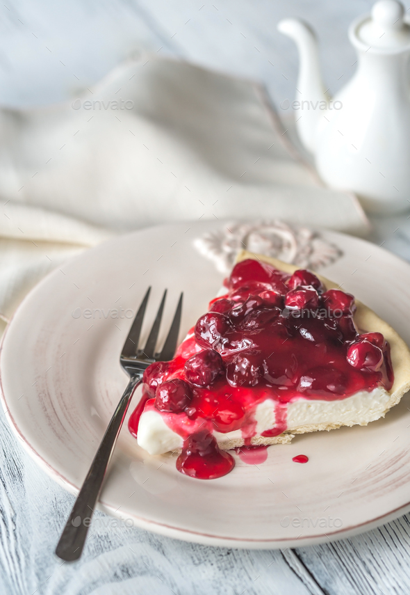 Tart with cream cheese and cherries - Stock Photo - Images