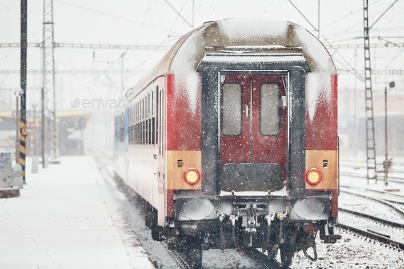 Railway during heavy snowfall - Stock Photo - Images