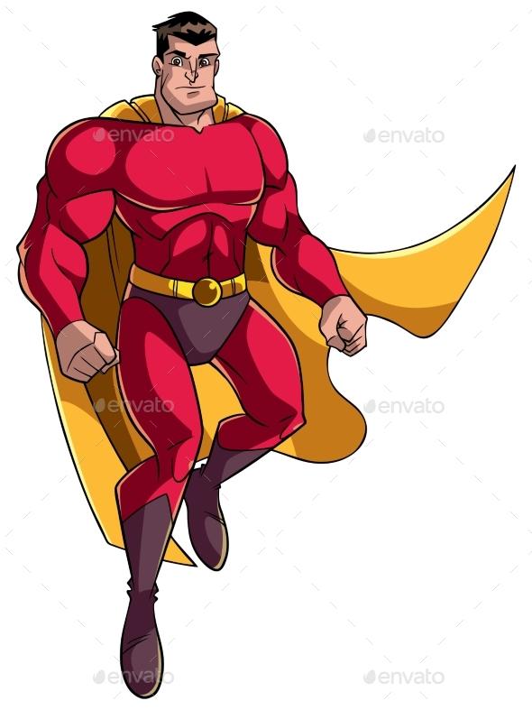Superhero Flying Illustration - People Characters