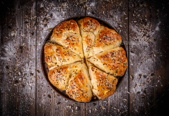 Bread buns with various seeds - Stock Photo - Images