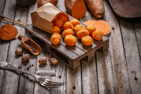 Fried sweet potato balls - Stock Photo - Images