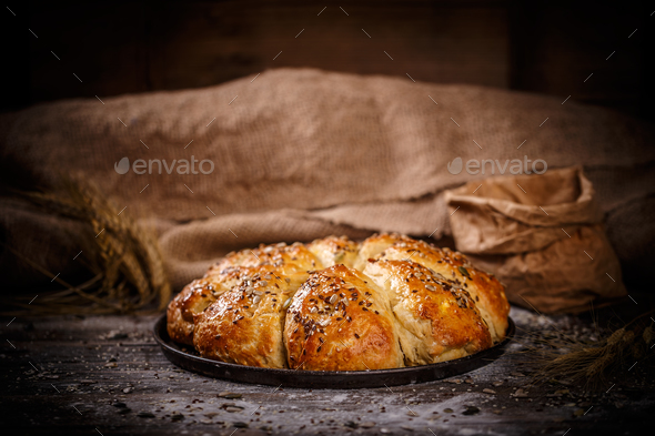 Fresh breakfast triangle buns - Stock Photo - Images