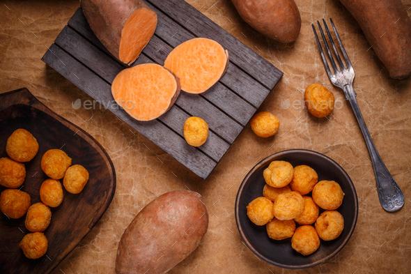 Thai fried sweet potato balls - Stock Photo - Images