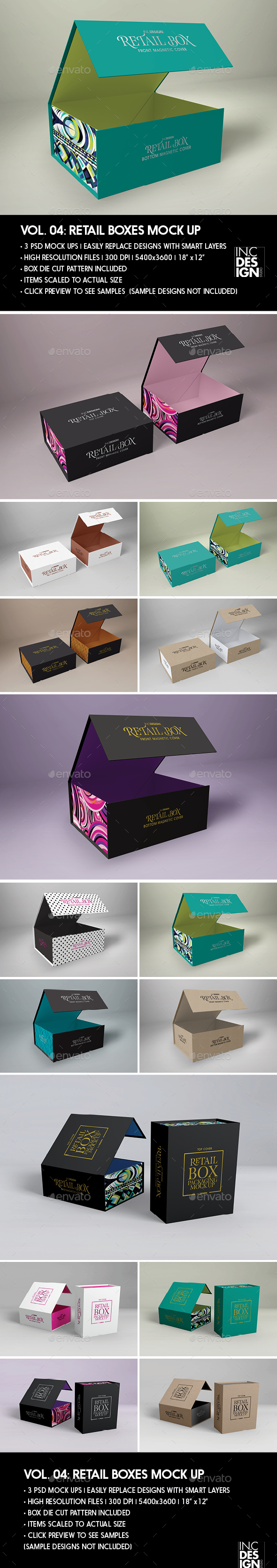 Retail Boxes Vol.4: Magnetic Box Packaging Mock Ups - Packaging Product Mock-Ups